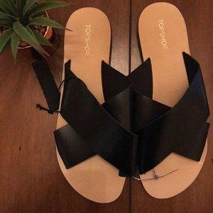 New TOPSHOP Black Leather Slide